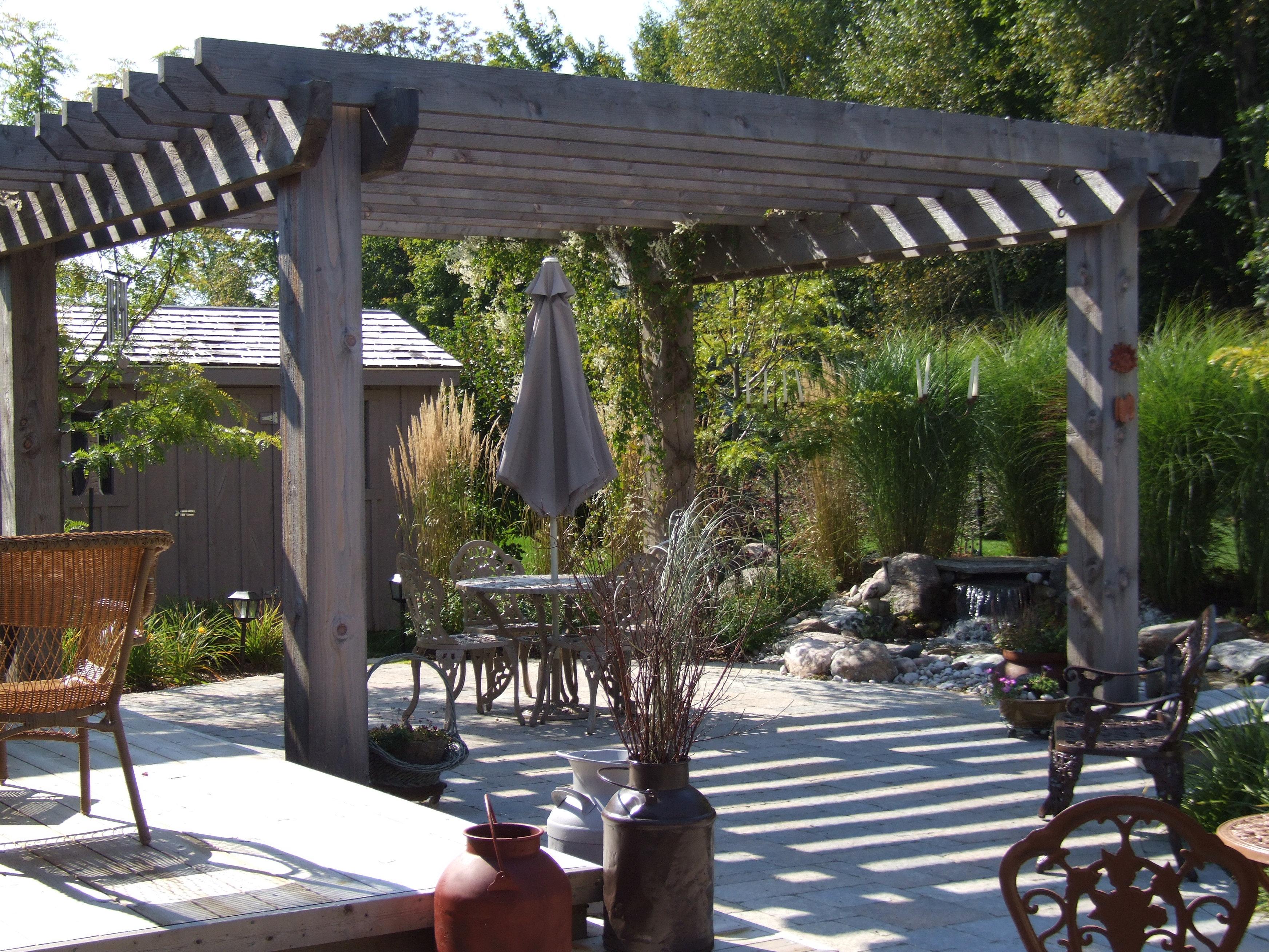 Sawn Timber Pergola ~ The outdoor designer kelsey badger landscape design grey