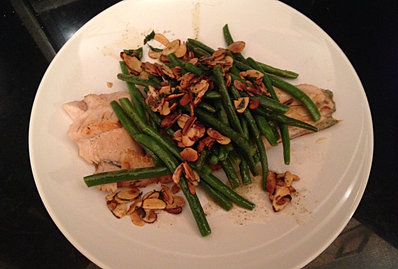 Trout with French beans and almonds