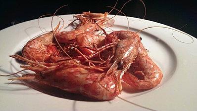 Coonstripe shrimp fresh off the barb