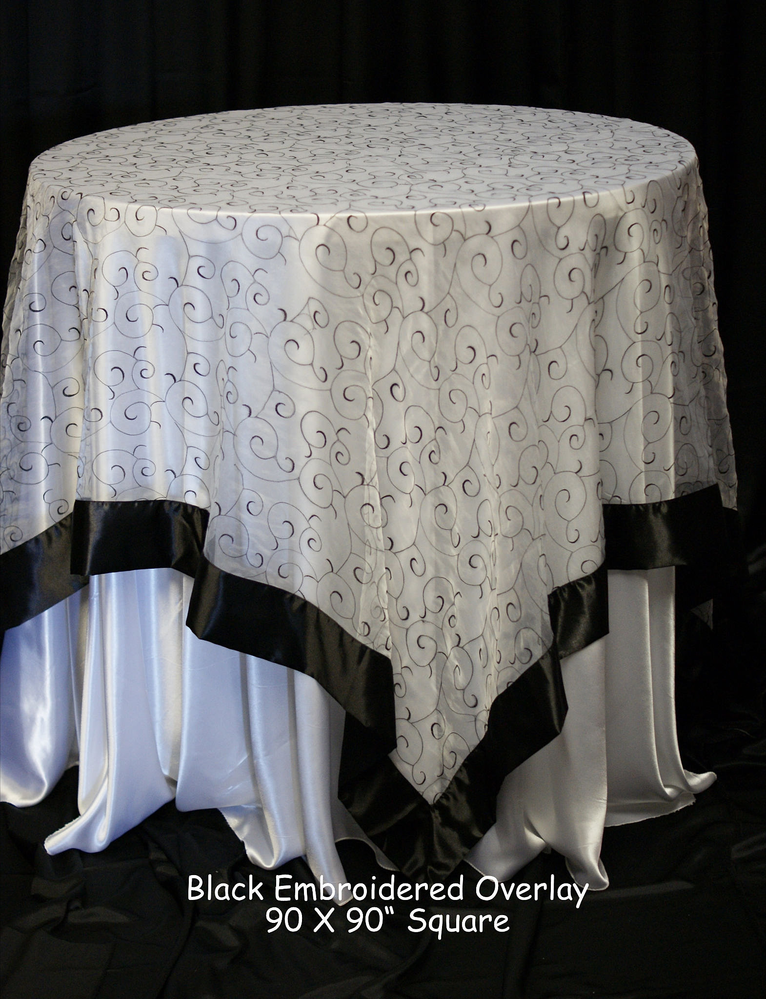 chair-covers-plus | Black Embroidered