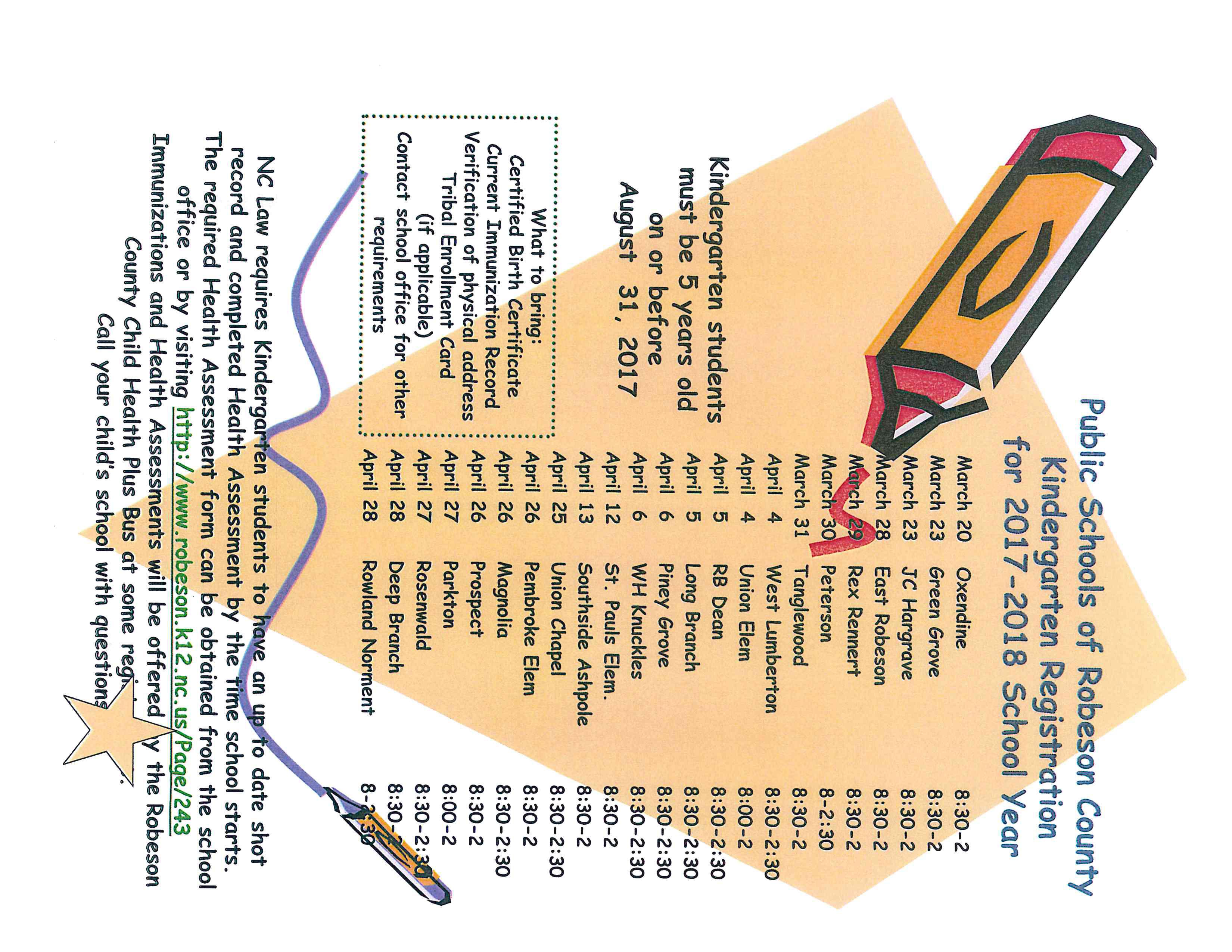 Kindergarten Registration Schedule for Robeson County   Children's Health  of Carolina, PA