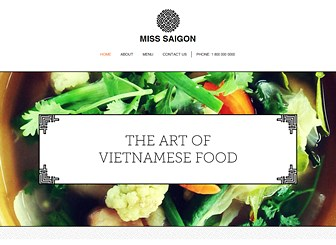 Vietnamese Restaurant Template - Oriental patterns and delicate background graphics make this elegant  website template perfect for any restaurant wishing to promoting Far Eastern cuisine. Minimal yet striking, the layout of this website allows you to create a sophisticated website through large coast to coast images and adorned text boxes. Click now to begin editing and take the success of your restaurant to the web!