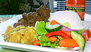 Curry Goat with Steam Rice & Potato