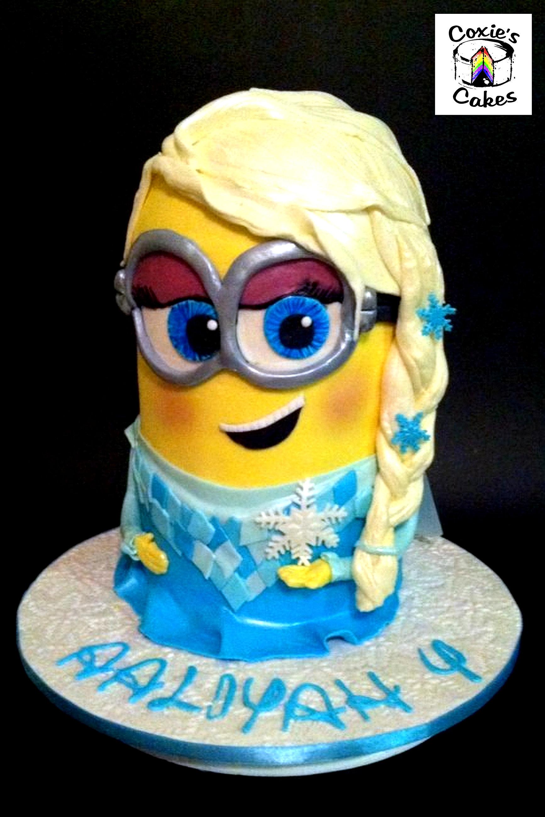 ... up elsa minion big eyed minion super cute minion birthday cake perth
