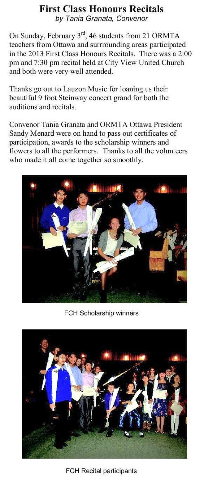 ormta music teachers lessons ottawa first class honours recital 2013
