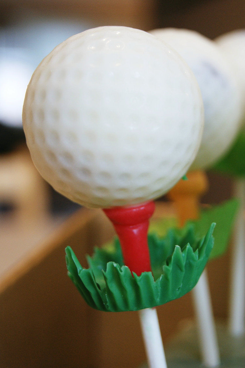 golf ball cake pop
