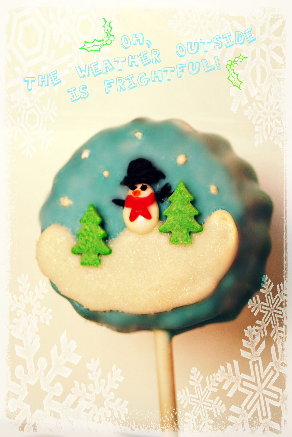 Winter scene cake pop