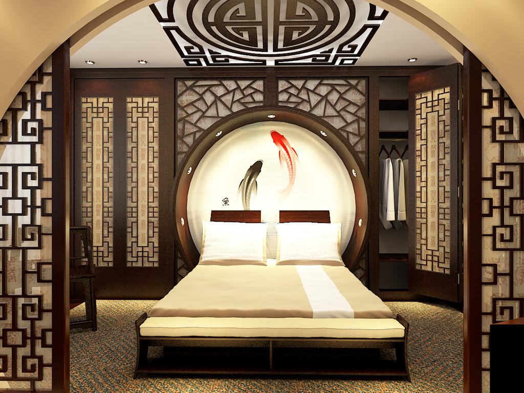 """Спальня в японском стиле, стиле """"минимализм"""" и китайском офо."""