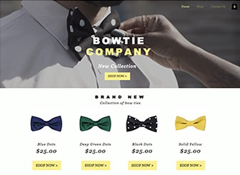 Bow Tie Store Template - Create a website as stylish as your products with this trendy e-commerce website template. Showcasing a strip video and a contemporary parallax design, this is the perfect template for anyone wishing to create an impressive online store. Use the shop page to showoff your products and edit the homepage image gallery to reflect your brand. Start editing now and watch as your products fly off the shelves!