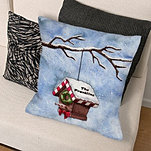 Winter Birdhouse Throw Pillow