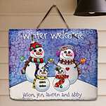 Snow Family Slate Wall Sign
