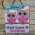 Owl Couple Slate Wall Sign
