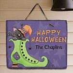 Halloween Cat Slate Wall Sign