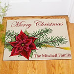 Christmas Poinsettia & Pine Doormat