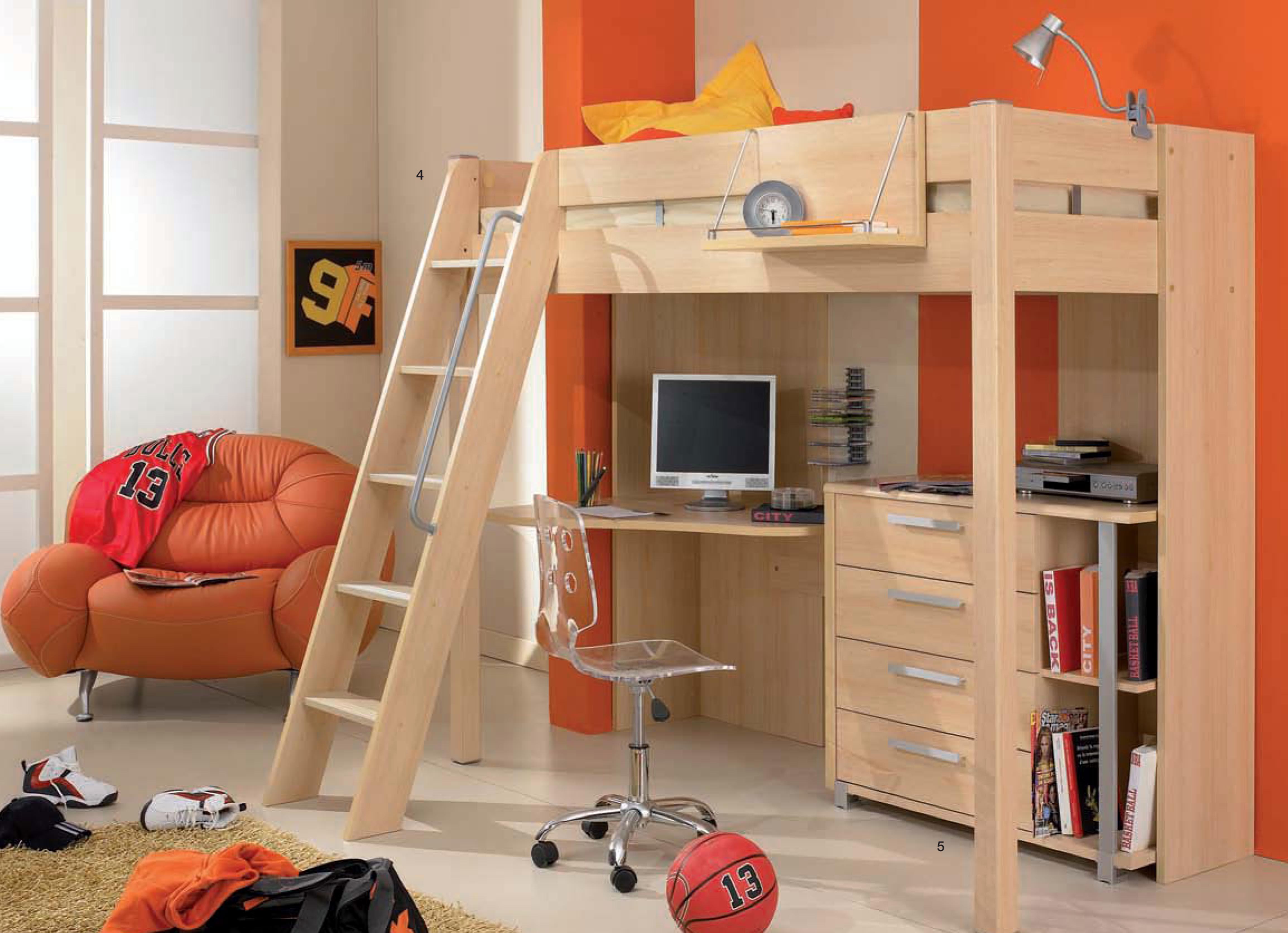 Maderitas dormitorios infantiles y juveniles cama alta - Escritorio con cama ...