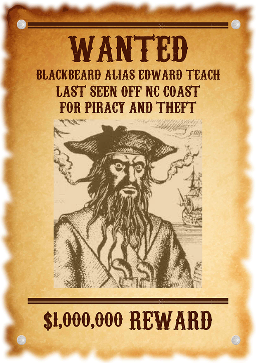 Image result for blackbeard wanted poster