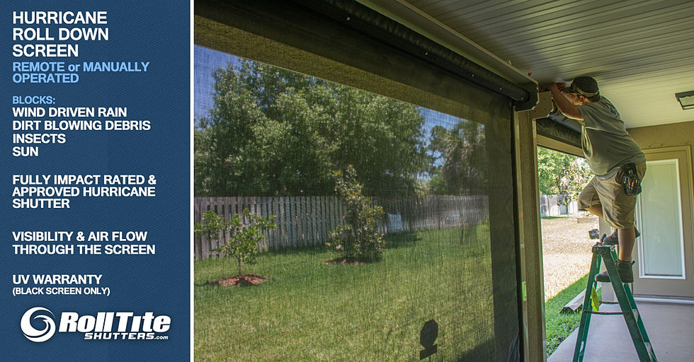 Hurricane shutters melbourne florida for Roll down screens for porch
