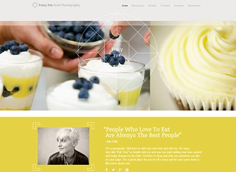 Food Photographer Template - Customize this sleek and modern theme to create a stunning online portfolio. The multiple galleries and split-image background give you plenty of space to showcase your talents. Make changes to the color scheme and layout to express your creative style.