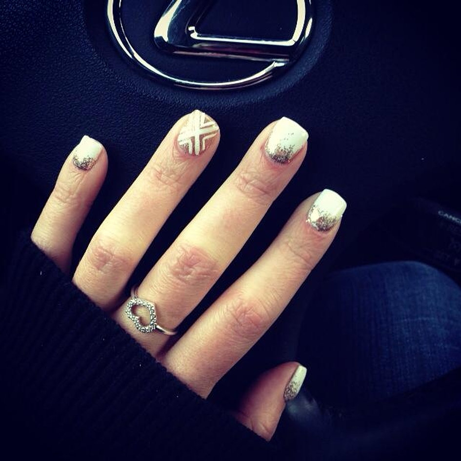 White Gel Polish with Gold Glitter