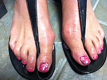 Pink Toes With White Flowers.JPG