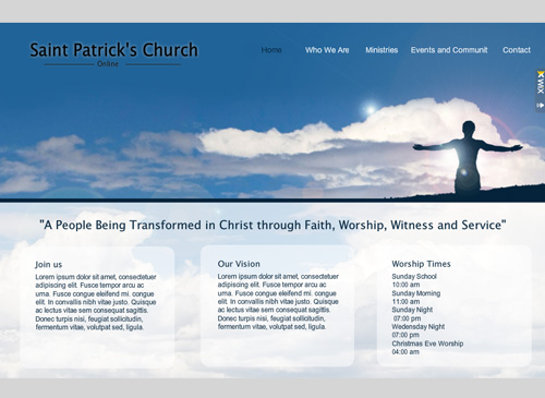 My Church Site Template - A conservative and harmonious template for non-profiteers and those who'd simply like to share their voice. Perfect for community groups, youth organizations and churches. Customize each page to match your true vision.
