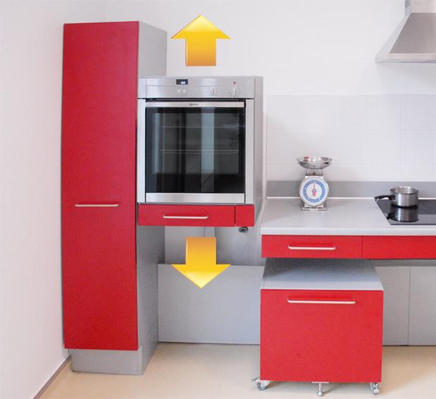 Innovation cuisine four r glable en hauteur dans une for Hauteur d une cuisine
