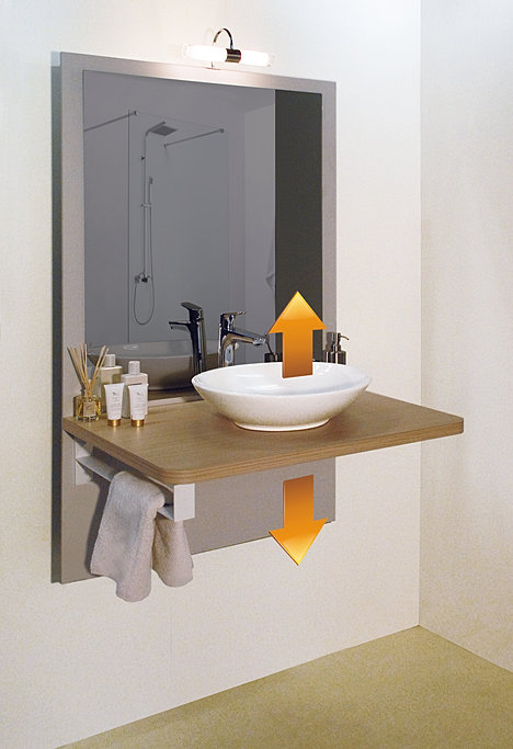 Lavabo pmr salle de bains design - Hauteur lavabo handicape ...