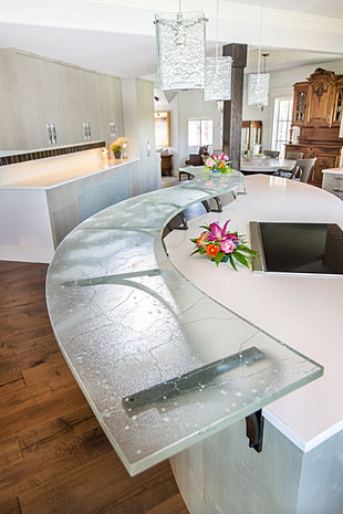 Grey Crackle Glass Bar Top