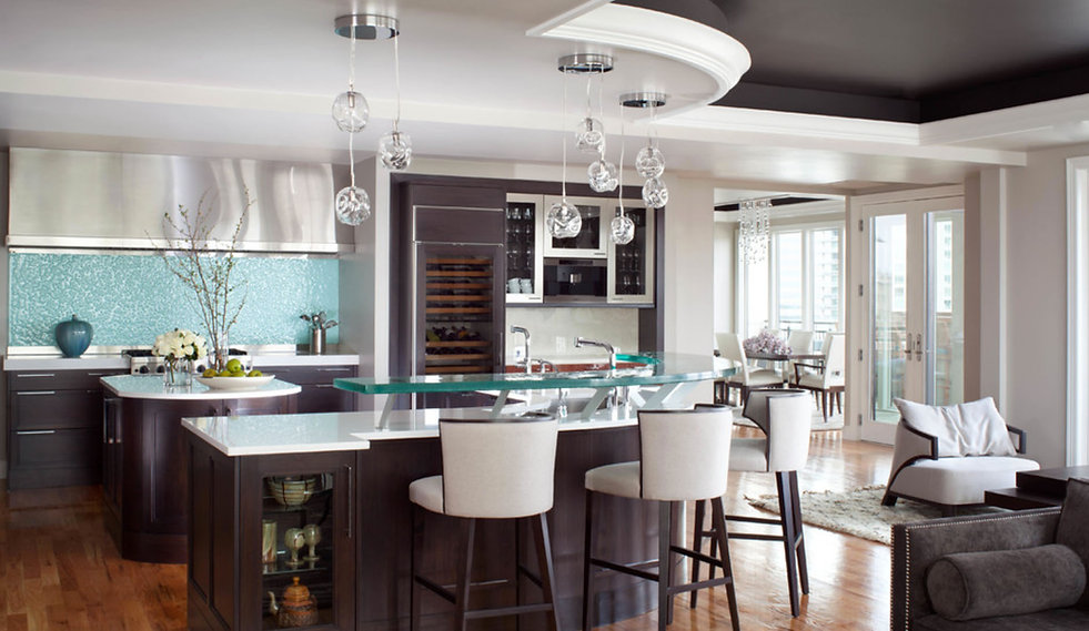 Glass counter top and bubble glass back splash