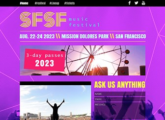 ミュージックフェス Template - コンサート、夏フェス、文化祭など、幅広いイベントに使えるテンプレートです。動画や写真ギャラリーでラインナップを紹介し、イベント情報、アクセス、チケット購入などのコンテンツを自由にカスタマイズできます。
