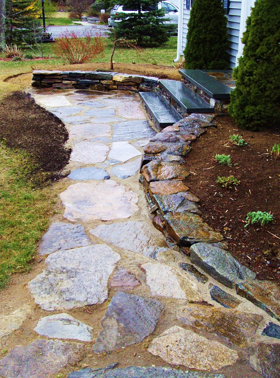 Boss landscape company natural stone walkway Natural stone walkways