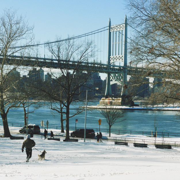 Winter and snowed in Astoria Park in Queens New York City
