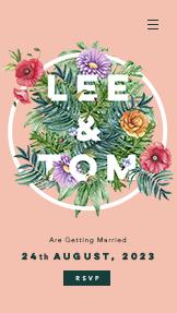 Blommig bröllopsinbjudan