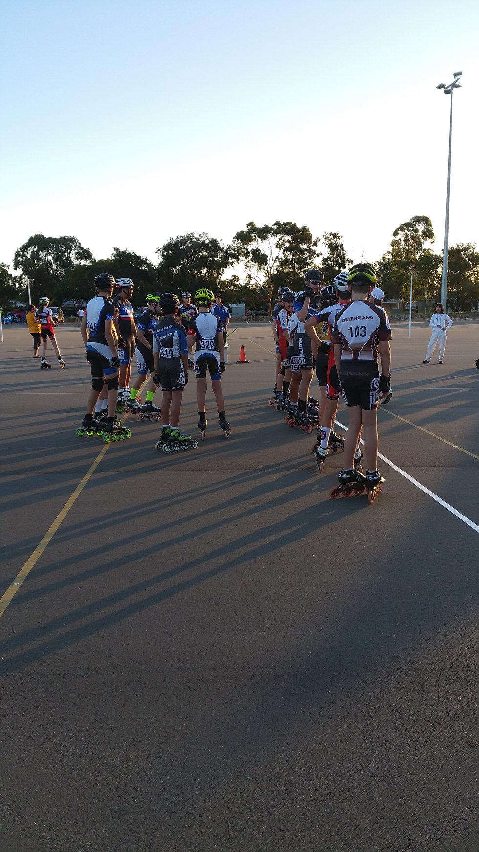Roller skates queensland - U14 Junior Boys On The Start Line