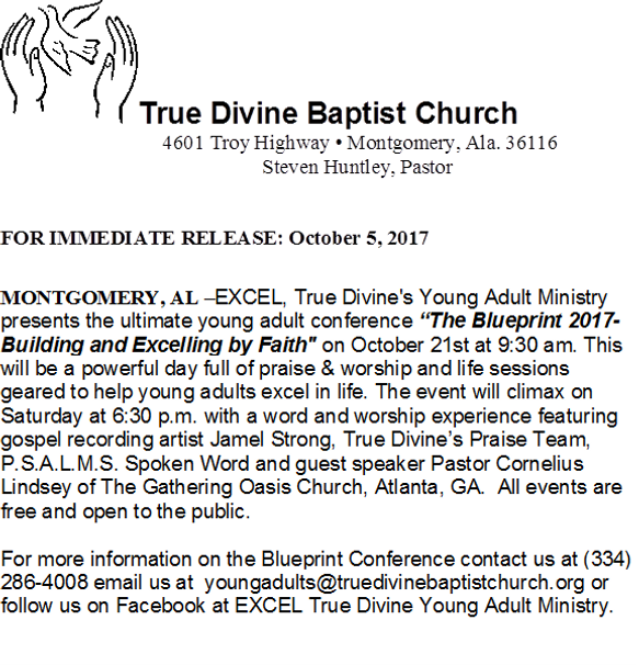True divine baptist church of montgomery to host the blueprint 2017 true divine baptist church of montgomery to host the blueprint 2017 building and excelling by faith oct 21 malvernweather Image collections