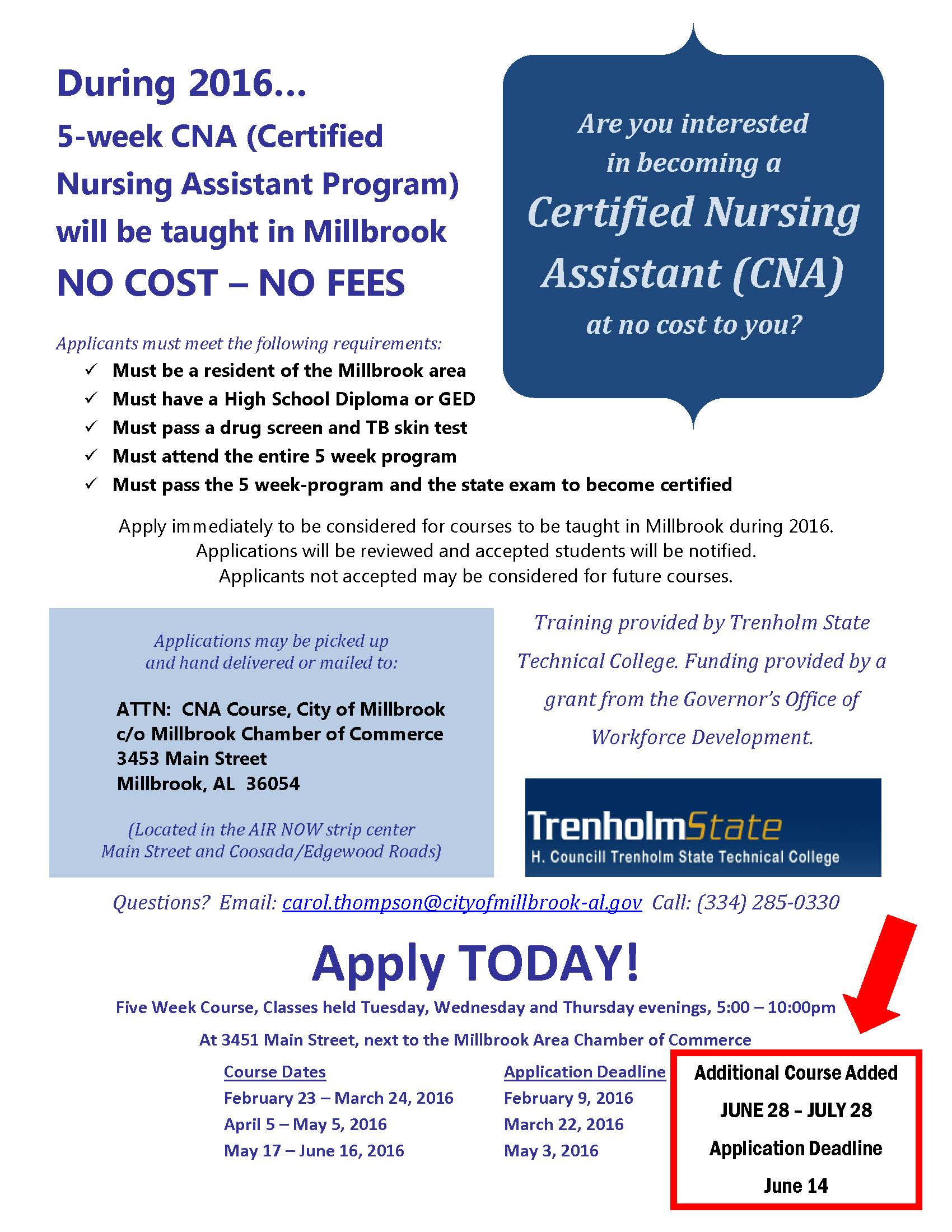 Trenholm adds fifth cna course free to millbrook residents sign trenholm adds fifth cna course free to millbrook residents sign up by june 14 elmoreautauganews xflitez Image collections