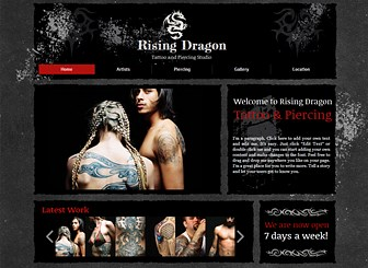 Tattoo Designs Template - Express the alternative atmosphere of your tattoo or piercing studio with the dark colors and grungy design of this website template. Add text and upload images to advertise your services and showcase your unique designs. Create an edgy website that represents your business!