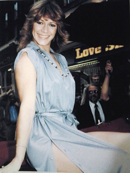 Marilyn Chambers arrives in London for the premiere of her one-woman show Sex Confessions, 1979