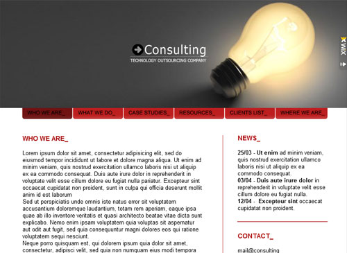Hi Tech Consultancy Template - A classic Flash website waiting for your specific Consulting business. With this template you can customize everything from colors to layout to high quality gallery styles. Simply add your service info and personal vision and you'll be online in a Flash.
