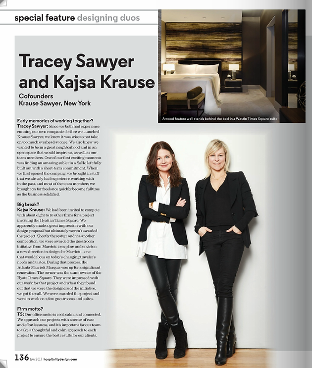 Hospitality Design Magazine Features Krause Sawyer In The July 2017 People Issue