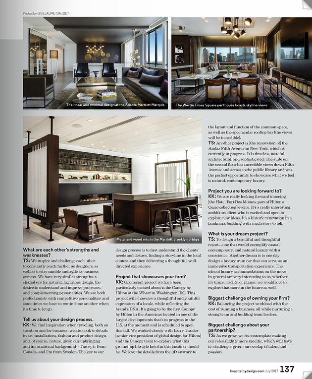 Honored To Have Been Featured In The July 2017 People Issue Of Hospitality Design As One Eight Designing Duos Within Magazine