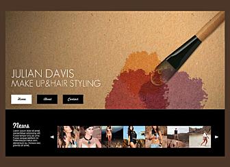 Make-Up-Artist Template - Eine Palette an Erdfarbtönen und eine klassische schwarze Galeriekulisse kreiert eine Schönheit der nichts gleich kommt. Stellen Sie Ihre Arbeit aus und lassen Sie diese wahrhaftig strahlen. Vollständig anpassbar, ermöglicht diese Vorlage Ihnen, eigenen kreativen Inhalt beizusteuern.