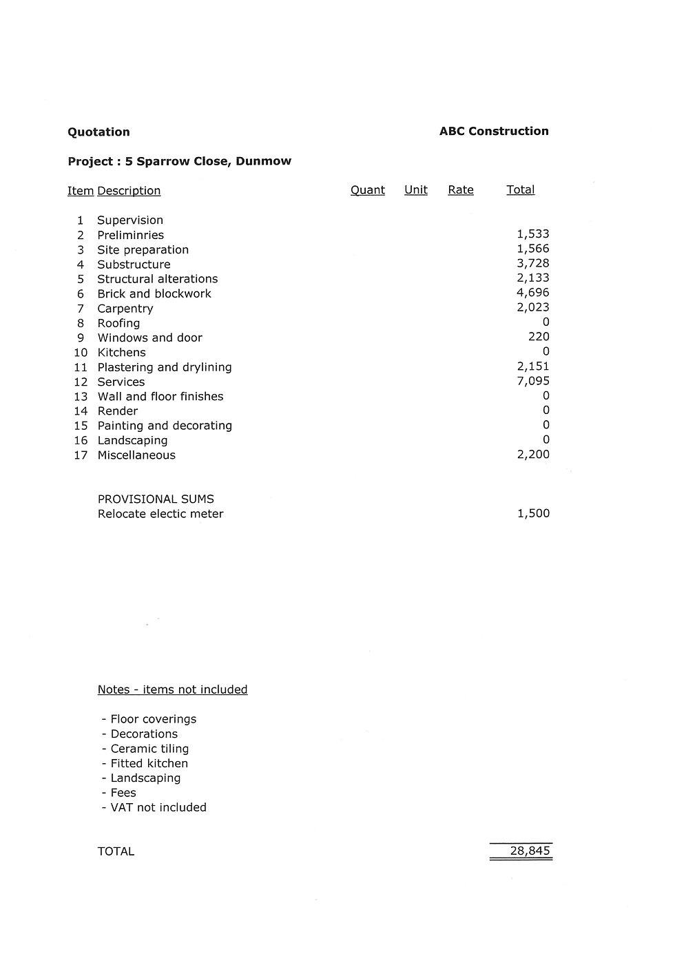 khg property quote sample summary
