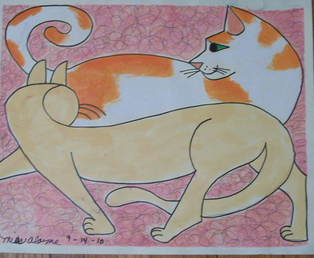 cats2 watercolor and pencil