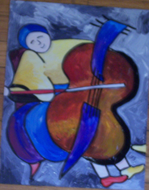 Cello player Schluss acrylic