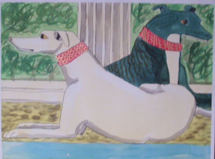 Greyhounds watercolor
