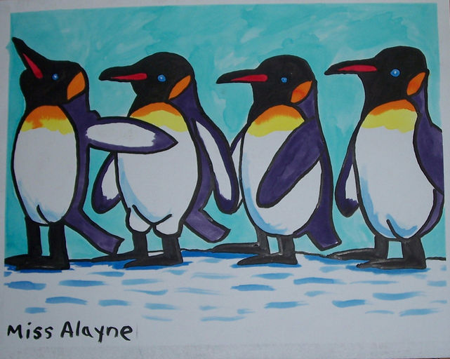 4 Penguins watercolor