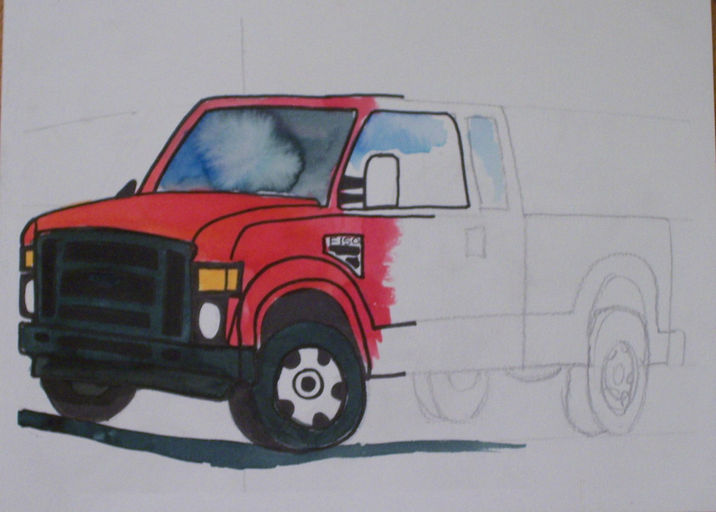 Red Truck watercolor