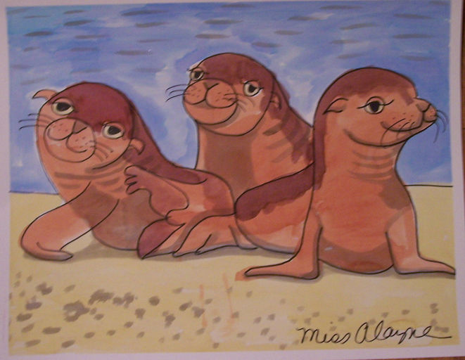 Sea lions watercolor