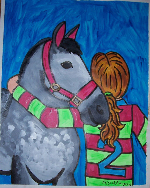 Horse and rider acrylic